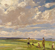Sports Paintings - Lady Astor playing golf at North Berwick by Sir John Lavery