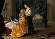 Puppy Paintings - Lady at her Toilet by Netherlandish School