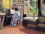 Playing Music Framed Prints - Lady at the Piano Framed Print by Felix Edouard Vallotton