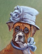 Boxer Painting Framed Prints - Lady Boxer with Blue Hat Framed Print by Viktoria K Majestic