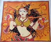 Kerala Murals Metal Prints - Lady Dance to her tune on kerala mural Metal Print by Kayathiri  Prabhuraj