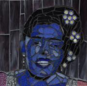 Blue Flowers Glass Art - Lady Day by Gila Rayberg