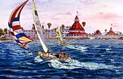 Sailboat Paintings - Lady Del And  Sunday Afternoon by John YATO