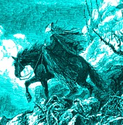 Nineteenth Century Digital Art - Lady Descending Mount Washington on Horseback 1872 Engraving Detail by Antique Engravings