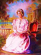Satin Dress Painting Framed Prints - Lady Diana Our Princess Framed Print by Carole Spandau
