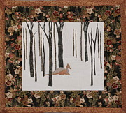 Handmade Quilt Framed Prints - Lady Dragon Stroll Through a Snowy Forest Framed Print by Elena Kazmier Miranda Radock