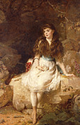 Brown Hair Metal Prints - Lady Edith Amelia Ward Daughter of the First Earl of Dudley Metal Print by George Elgar Hicks