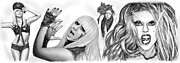 March Drawings - Lady Gaga art long drawing sketch  poster by Kim Wang