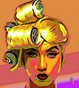 Figurative Digital Art Posters - Lady Gaga Poster by Byron Fli Walker