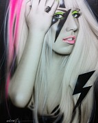 Framed Paintings - Lady GaGa by Christian Chapman Art