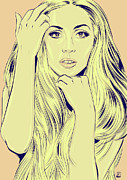 Icon Drawings Metal Prints - Lady Gaga Metal Print by Giuseppe Cristiano