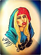 Superstar Drawings Posters - Lady Gaga Judas Poster by Matthew Skingsley