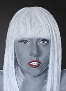Lady Gaga Paintings - Lady Gaga Poker Face by David Dunne