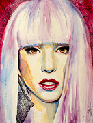 Singer Mixed Media Posters - Lady Gaga Poster by Slaveika Aladjova