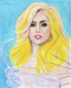 Lady Gaga Blue Posters - Lady Gaga Poster by Yoshiko Mishina