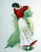 Sports Art Digital Art Posters - Lady Golfer Poster by Maud Strumm