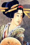 Portrait Woodblock Prints - Lady holding fan Print by Pg Reproductions