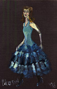 Pencil On Canvas Painting Prints - Lady in a blue dress 1998  Print by Cathy Peterson