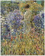 Lady In Red Painting Framed Prints - Lady in a Garden Framed Print by Frederick Frieseke