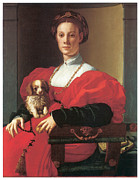 Woman In A Dress Metal Prints - Lady in a Red Dress Metal Print by Jacopo Pontormo