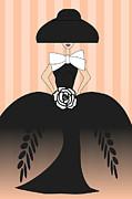 Ball Gown Posters - Lady in black ball gown II Poster by Mira Dimitrijevic