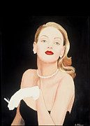 Strapless Dress Painting Posters - Lady In Black Poster by Jo Adams