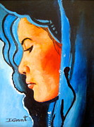 Scarves Painting Originals - Lady in Blue by Daniel Grant