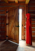 Threatening Prints - Lady in Cape by Door Print by Jill Battaglia