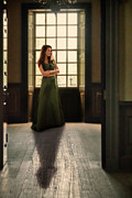 Ball Gown Posters - Lady in Green Gown by Window Poster by Jill Battaglia