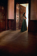 Ball Gown Posters - Lady in Green Gown in Doorway Poster by Jill Battaglia