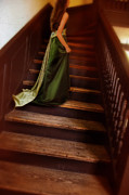 Satin Dress Prints - Lady in Green Gown on Stairs Print by Jill Battaglia