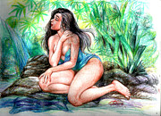 Manuel Cadag Art - Lady In Lake 2 by Manuel Cadag