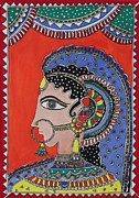 Necklace Drawings Posters - Lady in ornaments Poster by Shakhenabat Kasana