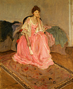 Sensuous Posters - Lady In Pink Poster by Carl Frieseke
