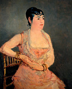 Lady In Red Painting Framed Prints - Lady in Pink Framed Print by Edouard Manet
