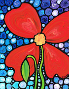 Blue Flowers Paintings - Lady in Red 2 - Buy Poppy Prints Online by Sharon Cummings