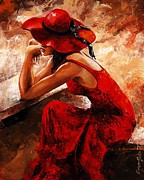 Lifestyle Paintings - Lady in red 21 by Emerico Imre Toth
