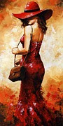 Attractive Framed Prints - Lady in red  30 Framed Print by Emerico Imre Toth