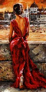 Lifestyle Painting Metal Prints - Lady in red  34 -  I love Budapest Metal Print by Emerico Imre Toth