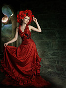 Creative Manipulation Digital Art Posters - Lady In Red Poster by Ester  Rogers