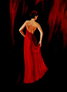 Original Paintings - Lady in Red by Indira Mukherji