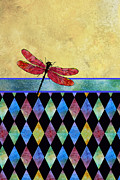 Dragonflies Mixed Media - Lady in Red by Jenny Armitage