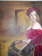 Joyce Reid Metal Prints - Lady in Red Metal Print by Joyce Reid