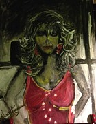 Night Out Paintings - Lady In Red by Sherry Harradence