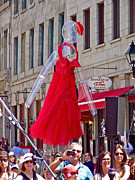 Old Montreal Digital Art - Lady in Red Watching Filming of TODAY Show in Old Montreal-QC by Ruth Hager