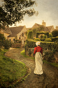 Charming Cottage Photo Prints - Lady in Regency Dress Walking Print by Jill Battaglia