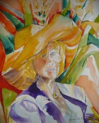 Suzanne Willis Metal Prints - Lady in the Big Yellow Hat Metal Print by Suzanne Willis