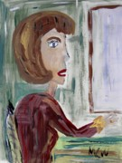 Primitive Drawings - Lady in the Diner by Mary Carol Williams