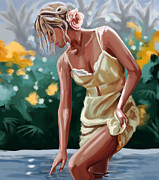 Woman In Pool Painting Framed Prints - Lady in the lake Framed Print by Tim Gilliland