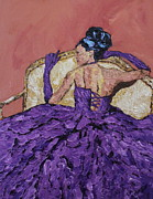 Satin Dress Painting Framed Prints - Lady in the Purple Gown Framed Print by Lee Ann Newsom